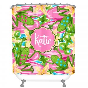 Preppy Frogs Personalized Shower Curtain