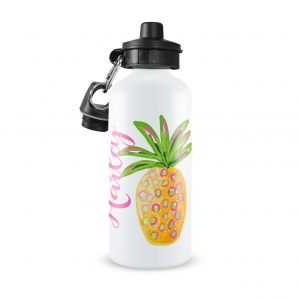 Preppy Pineapple Personalized Water Bottle, Preppy Fun Girls Water Bottles, Aluminum Water Bottles