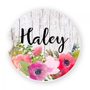 Watercolor Poppies Personalized Monogrammed Car Coaster, Custom Car Coasters