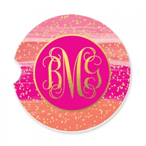 Watercolor Stripes Pink Personalized Monogrammed Car Coaster, Custom Car Coasters