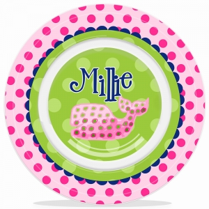 Polka Dot Whale Girls Personalized Microwave Safe Bowl, Personalized Kids Bowls