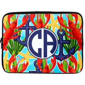 Anchors & Lobsters Monogrammed Laptop, iPad Kindle Sleeve