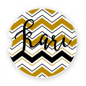 Black & Gold Chevron Personalized Car Coaster