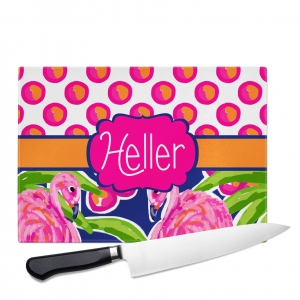 Fancy Flamingo Polka Dots Custom Personalized Cutting Board