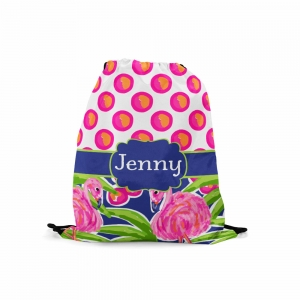 Personalized Fancy Flamingo Polka Dots Drawstring Backpack