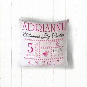 Pink Baby Girl Announcement Personalized Throw Pillow, Custom Throw Pillow