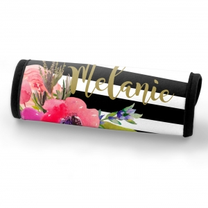 Watercolor Poppies Stripe Custom Personalized Luggage Bag Handle Wrap, Luggage Finder