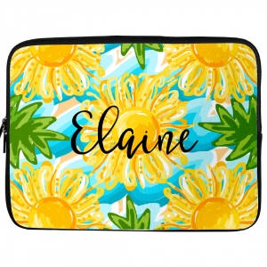 Sun & Sea Flower Monogrammed Laptop, iPad Kindle Sleeve