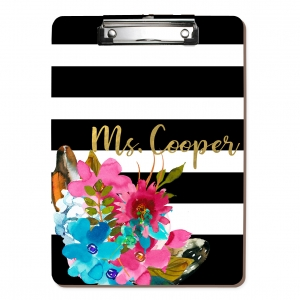 Watercolor Flower Stripes Personalized Monogrammed Clipboard