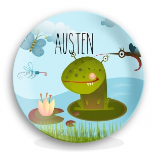 Personalized Kids Plate - Frog Monster