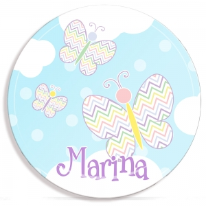 Butterfly Personalized Girls Microwave Safe Plate