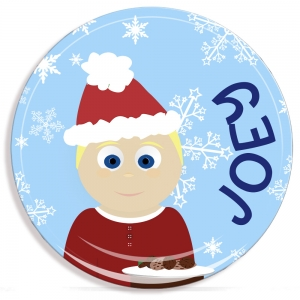 Cookies For Santa Little Me Boys Personalized Christmas Plate-Microwave Safe