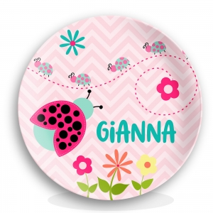 Cute Ladybug Personalized Plate