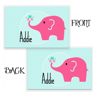 Personalized Girls Placemant - Pink Elephant