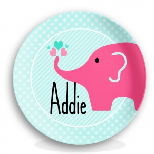 Elephant Girls Personalized Plate
