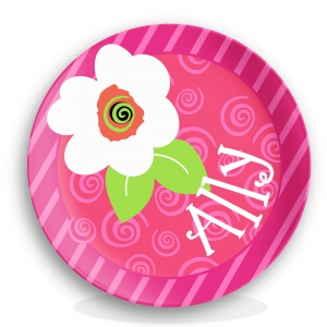 Fun Flower Swirls Girls Personalized Plate
