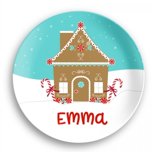Gingerbread House Personalized Kids Microwave Safe Plate