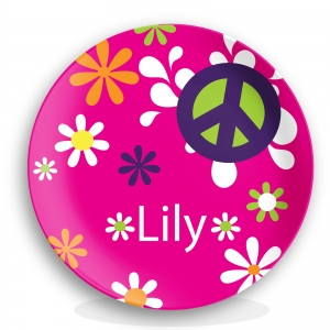 Personalized Kids Plate - Flower Power
