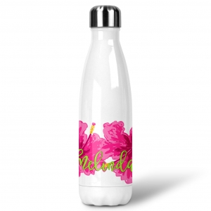 Pink Hibiscus Custom Personalized Water Bottle Sports Bottle