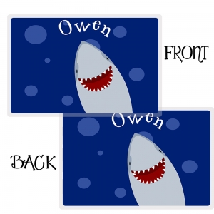 Shark Personalized Placemat, Custom Personalized Girls Placemat