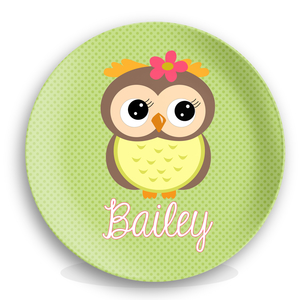 Girls Cute Owl Personalized Kids Melamine Plate