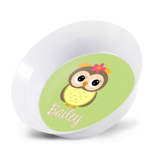 Personalized Kids Melamine Bowl - Polka Dot Flamingo