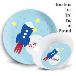 To The Moon Rocket Ship Kids Plate & Bowl