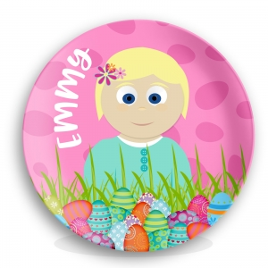 Little Me Little Me Girls Easter Plate - Easter Eggs