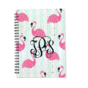Personalized Notebook - Faux Glitter Flamingos