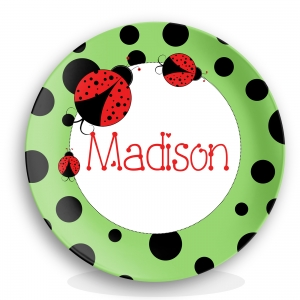 Personalized Girls Birthday Plate - Little Ladybugs