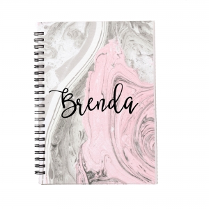 Personalized Notebook - Pink Marble