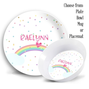 Rainbow Personalized Kids Plate Set