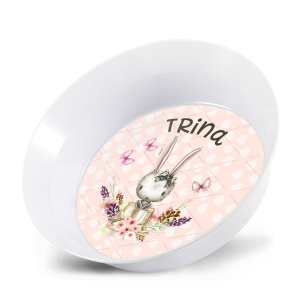 Personalized Kids Bowl - Bunny Girls Easter Bowl