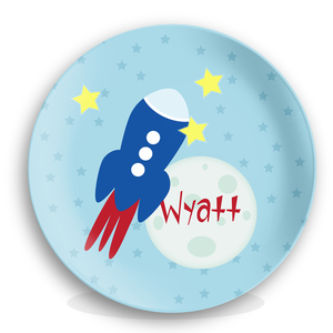 To The Moon Rocket Ship Kids Plate