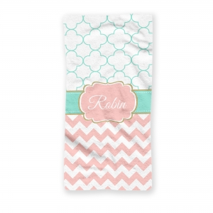 Petals Chevron Personalized Beach Towel