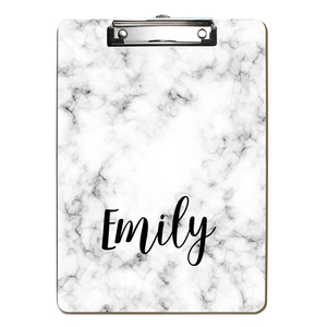Black Faux Marble Personalized Clipboard