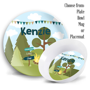 Camping Out Personalized Kids Plate & Bowl