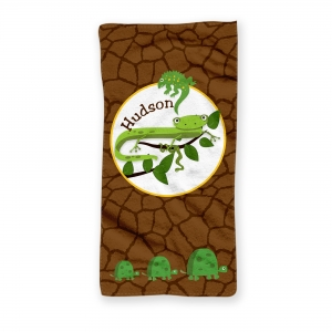 Cool Reptiles Personalized Kids Beach Towel