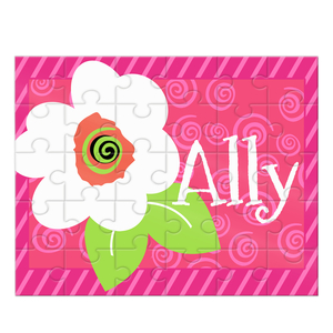 Flower Swirl Personalized Kids Puzzle