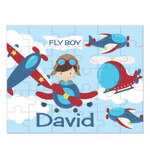 Flyboy Airplane Personalized Kids Puzzle, Airplane Kids Puzzle,