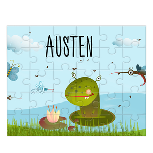 Frog Monster Personalized Kids Puzzle