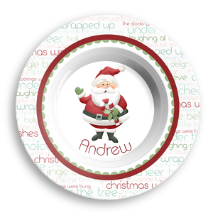 Jolly St Nick Christmas Personalized Microwave Safe Bowl