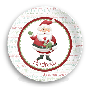 Jolly St Nick Christmas Personalized Microwave Safe Plate