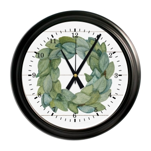 Magnolia Wreath Farmhouse Decor Decorative Wall Clock