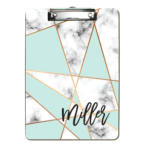 Mint Faux Marble Abstract Personalized Clipboard
