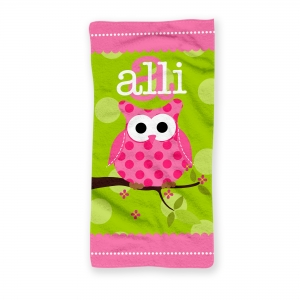 Pink Owl Personalized Kids Beach Towel