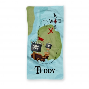 Pirate Ship Personalized Kids Beach Towel