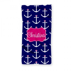 Preppy Anchors Personalized Beach Towel