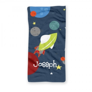 Rocket Ship Space Kids Personalized Towel
