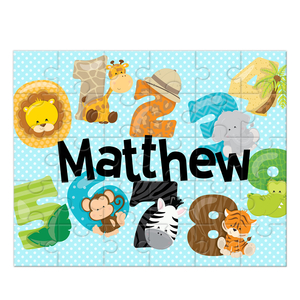 Safari Numbers Personalized Kids Puzzle